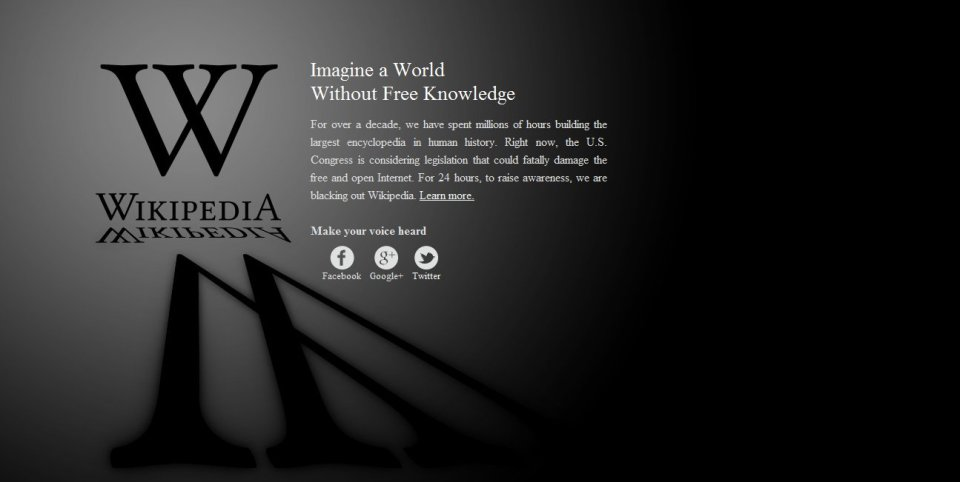 Wikipedia observed a 24hrs blackout protesting against SOPA